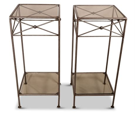 """(2)28"""" Iron and Glass """"Medici"""" Side Tables"""