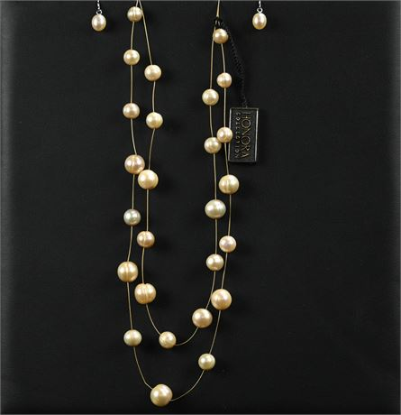 Honora Double Strand Freshwater Pearl Necklace and Earrings