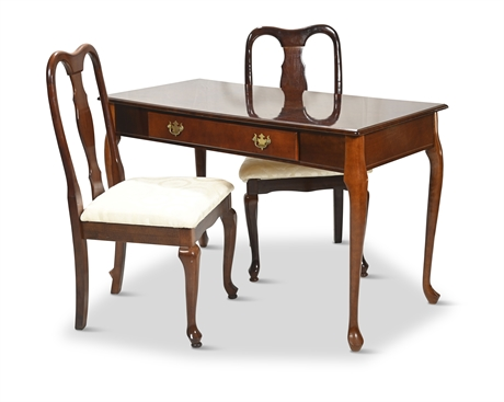Queen Anne Style Ladies Writing Desk with (2) Chairs