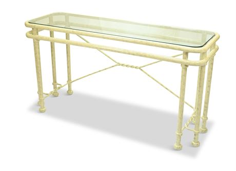 Contemporary Iron and Glass Console Table
