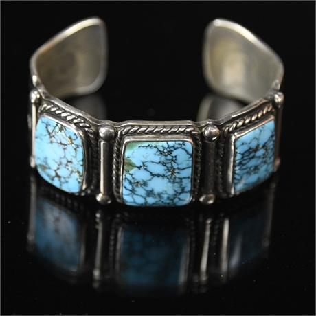 Vintage Navajo Turquoise Sterling Silver Bracelet