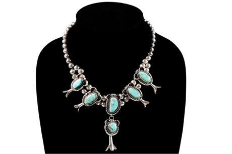 Petite Navajo Turquoise and Sterling Silver Squash Blossom