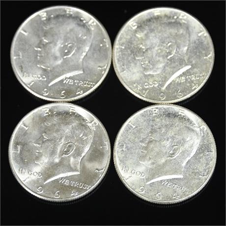1964 Kennedy Half Dollars / 90% Silver