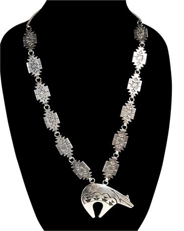 Sterling Silver 3D Bear Necklace