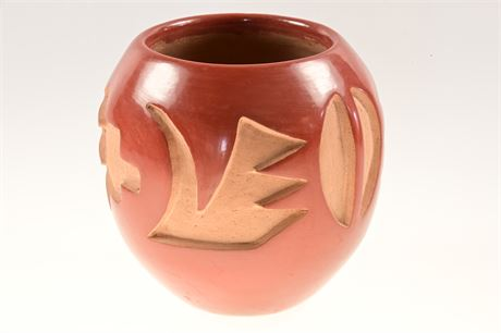 Santa Clara Deeply Carved Red Ware Pottery