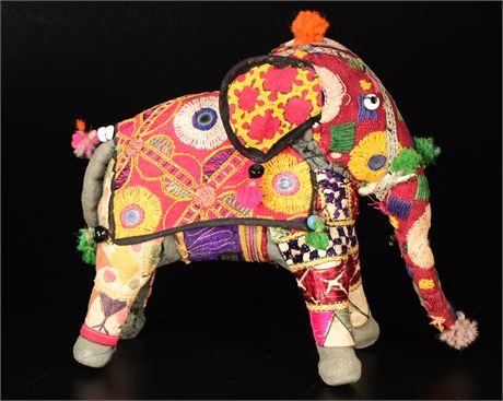 Hand Crafted Anglo Raj Vintage Stuffed Elephant