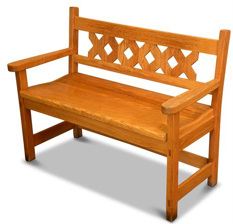 Oak Trellis Back Bench