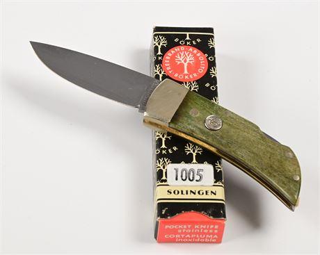 NOS Vintage Boker Tree Brand 1005 Green Mini Lockback Knife