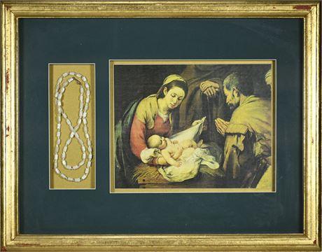 Shadow Box Nativity and Rosary Print