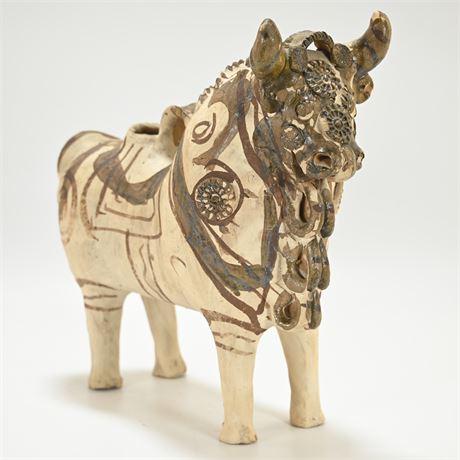 Vintage Mexican Folk Art Ceramic Toro Pitcher