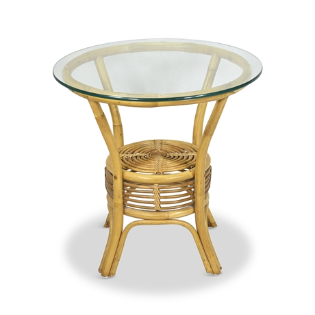 Vintage Bamboo & Glass Side Table