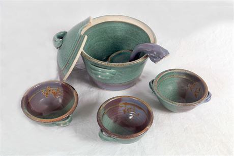 Pottery Tureen and 8 Bowls