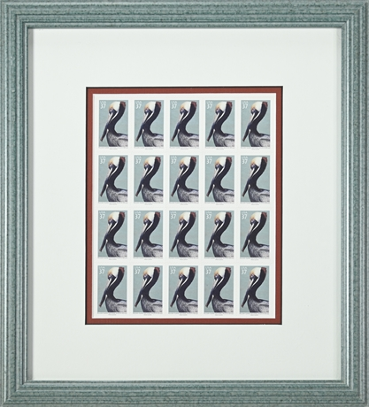 Pelican Island Stamp Block Framed