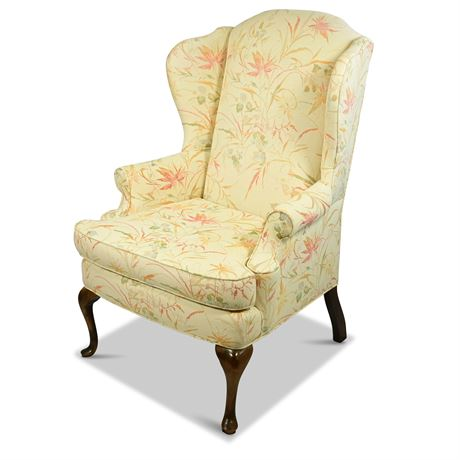 Vintage Upholstered Wingback Chair