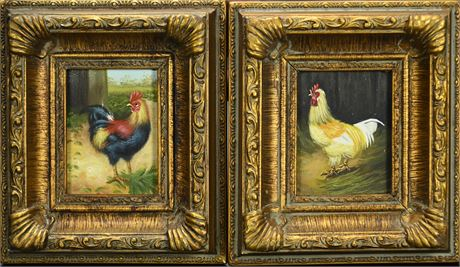 Pair Hen and Rooster Paintings