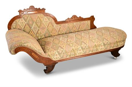 Victorian Eastlake Antique Walnut Chaise Fainting Couch