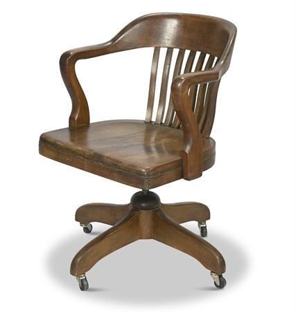 Antique Lawyer/Banker Slat Back Taylor Office Chair