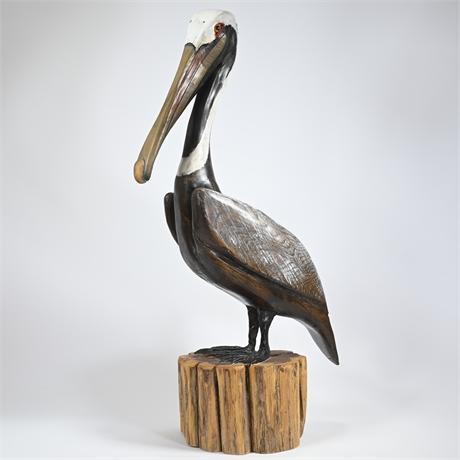 Lance Lichtensteiger Hand Carved Pelican Sculpture