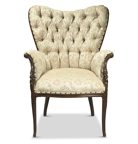 Antique Carved Butterfly Wingback Chair