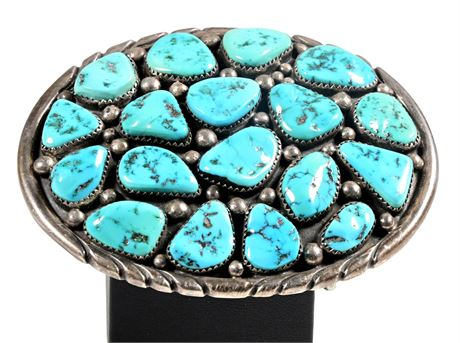Navajo Turquoise Nugget and Sterling Silver Belt Buckle