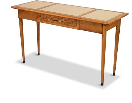 Stone Top Pecan Console Table