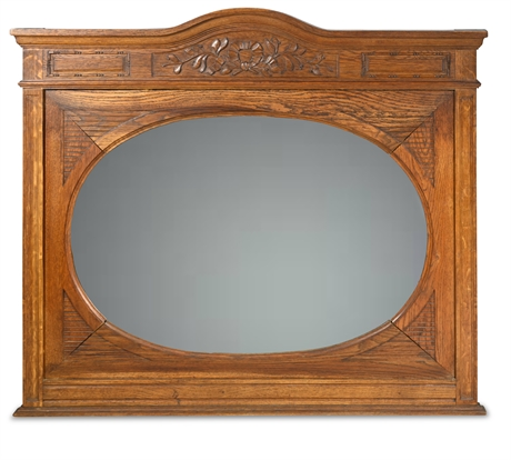 Antique Solid Oak French Mirror