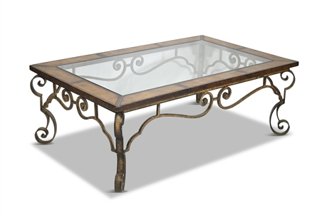 Leather and Iron Cocktail Table