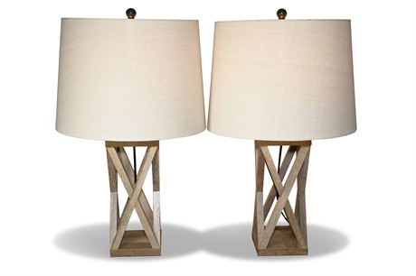 Pair Contemporary Geometric Table Lamps