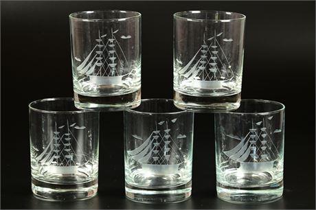 Etched Clipper Ship Rocks Glasses