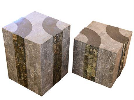 Stone Clad Pedestal Living Room Tables