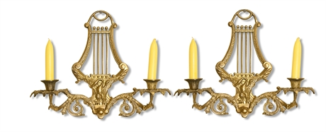 1940's Antique Brass Wall Sconces