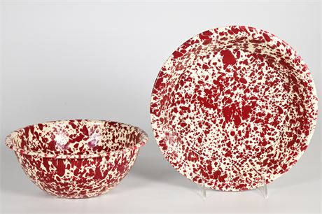 Speckled Enamelware Pie Plate and Bowl