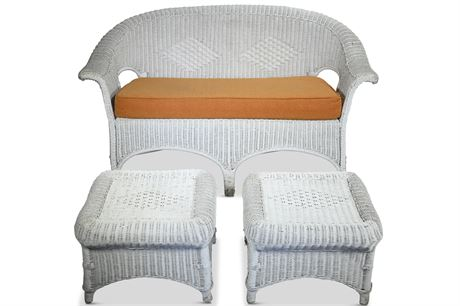 French White Wicker Settee and Ottoman Pair