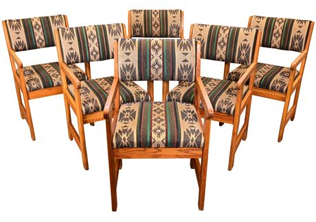 (6) Solid Oak Arm Chairs