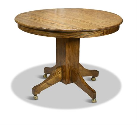 """42"""" Round Antique Oak Dining Table"""
