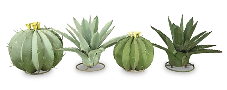 Metal Cactus and Agave Sculptures