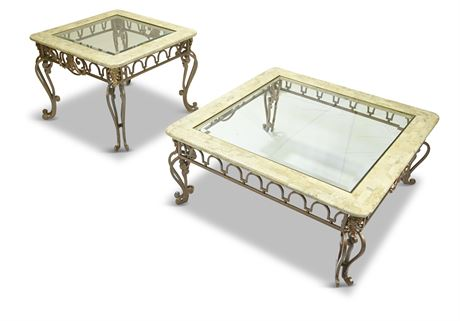 Iron and Travertine Cocktail Table Set