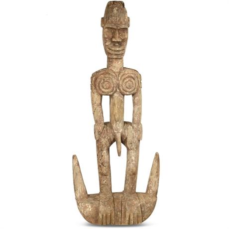 BAULE, Ivory Coast Standing Male Figure Wood