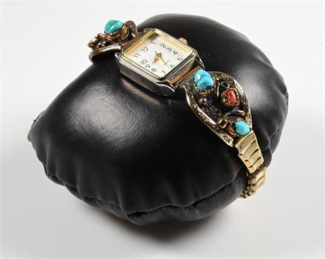 Vintage Navajo Turquoise and Coral Ladies Watchband