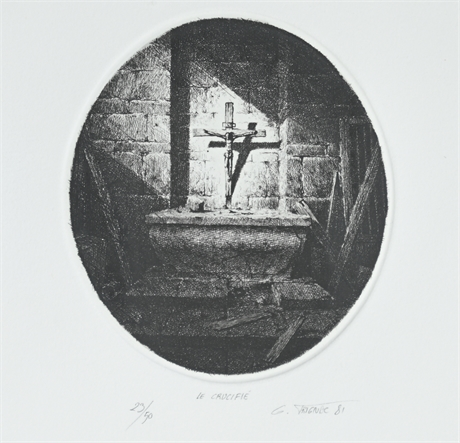 """Gérard Trignac """"Le Crucifié"""" Signed Etching"""