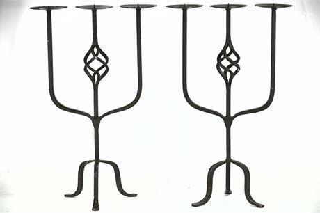 Pair Hand Wrought Iron Candelabras