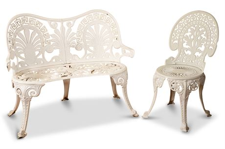 Cast Aluminum Bench and Chair