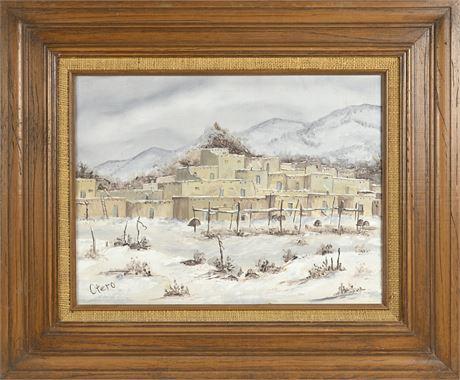 Taos Pueblo Painting by Bonnie Otero