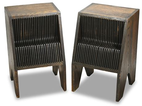 Mid-Century Record Storage Side Tables