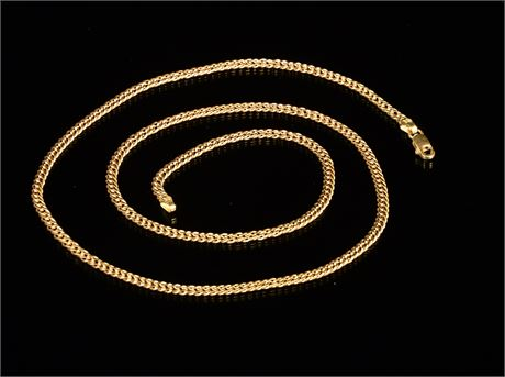 18k Double Curb Gold Necklace