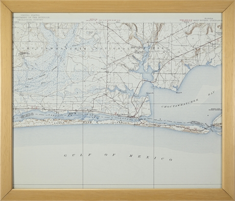 Department of Mary Esther Quadrant Framed Map