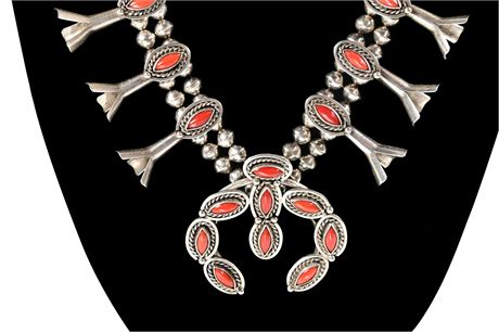 Coral and Sterling Navajo Pawn Squash Blossom