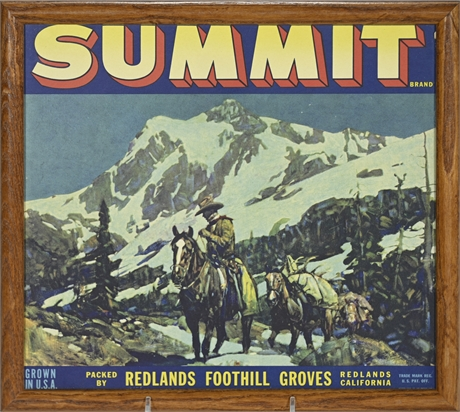 Vintage Summit Fruit Label Framed