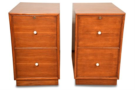 Pair of Mid Century Solid Wood File Cabinets