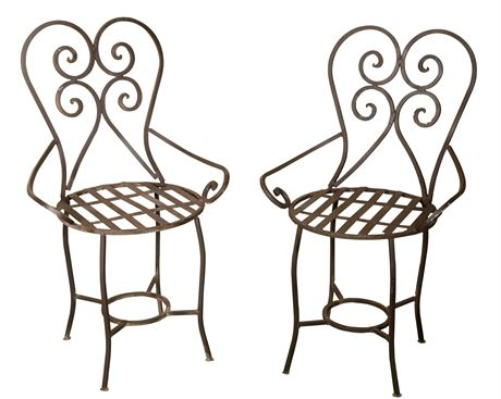 Pair of Classic Wrought Iron Chairs
